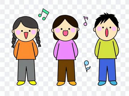 歌を歌う3人