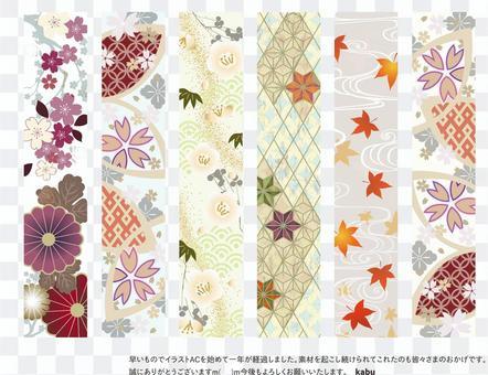 日式日式花紋裝飾線04