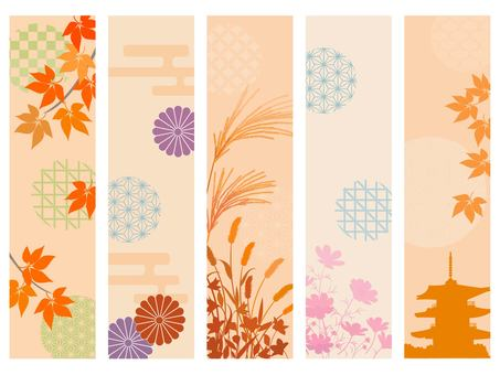 Autumn Japanese pattern line set 2