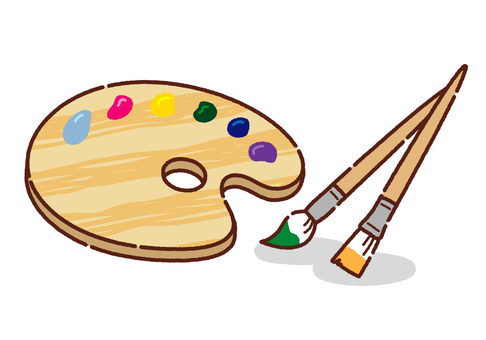 Pop paint brushes and palettes