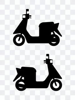 Bicycle silhouette with scooter and prime mover