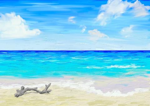 油畫風格海背景