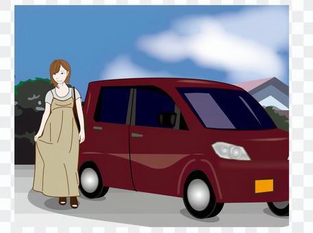 马克西礼服女性和微型车辆