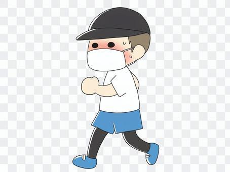 マスクをつけてランニングをする人