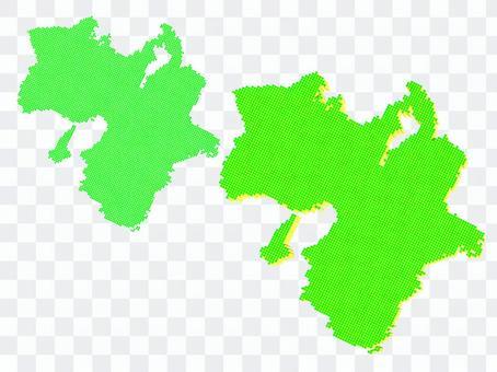 關西近畿地圖點地理綠色