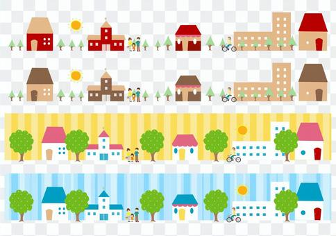 City and people (4 patterns)