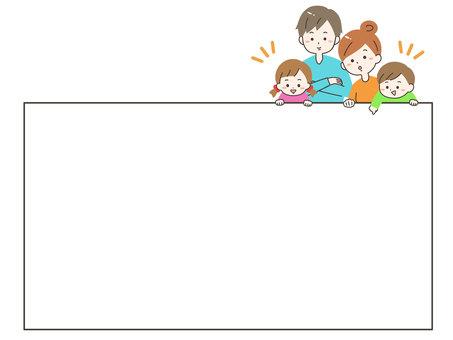 家庭指著簡單的框架