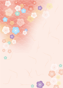Watercolor Japanese background material: Plum and Qinghai wave pattern