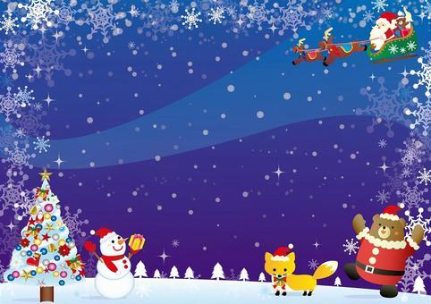 聖誕夜風景卡
