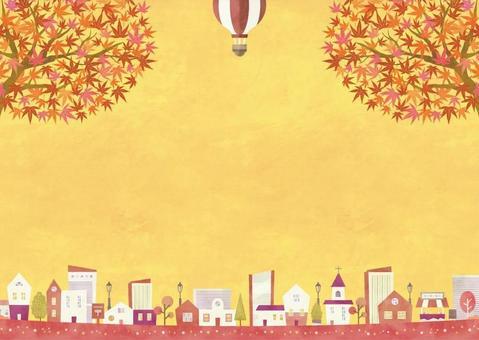 秋の背景フレーム024 もみじ 風景