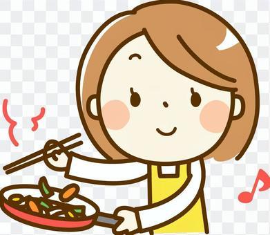 Woman doing stir-fry