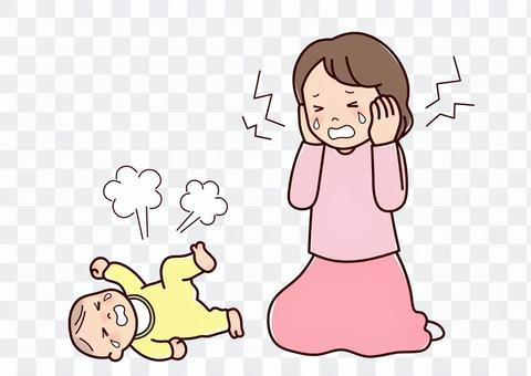 母親和嬰兒在抑鬱症後哭泣