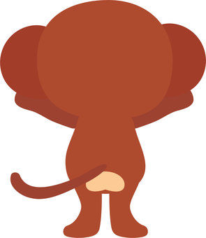 The back view of a monkey that banzai and stretches