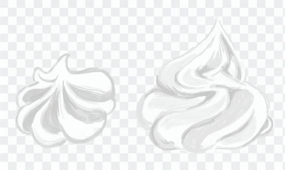 Whipped cream (diagonally from the side)