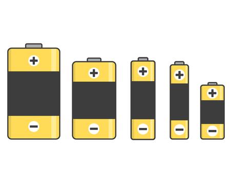 Battery type icon set