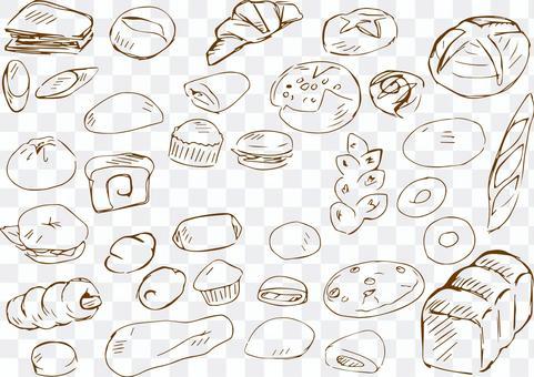 手繪麵包線描茶