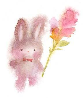 兔子毛絨玩具用花透明水彩出血