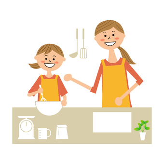 Mother and girl making sweets
