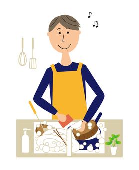 洗碗的男人