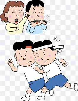 運動會_支持跑步的孩子的父母