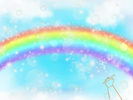 Let's draw a rainbow overflowing in the sky