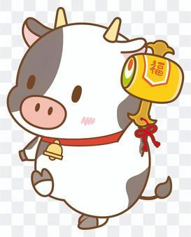打ち出の小槌を持つ牛さん