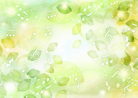 Watercolor-style leaves and musical notes glitter background horizontal