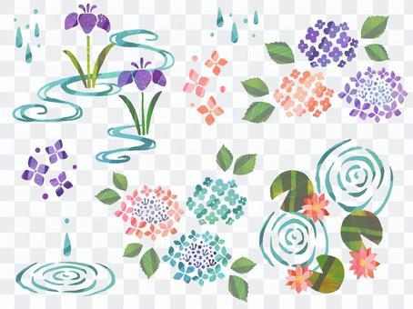 水彩風格的雨季