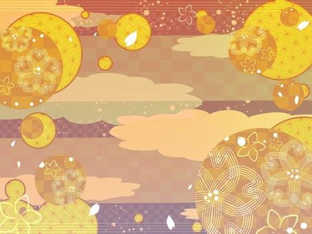 日式櫻花新月形背景