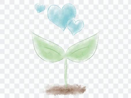 수채화의 떡잎과 파란색 하트