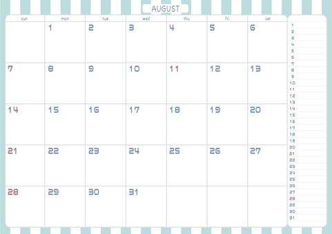 2022 年 8 月日曆