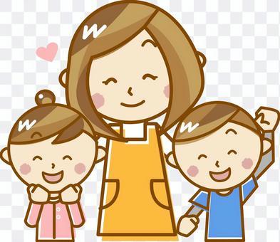 托兒所老師和兒童_ E 02【粉彩】