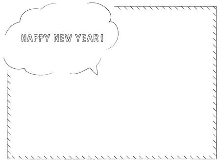 Pencil touch hand drawn frame_Happy New