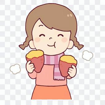 女孩吃紅薯