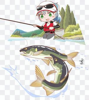 釣りガール アユのトモ釣り