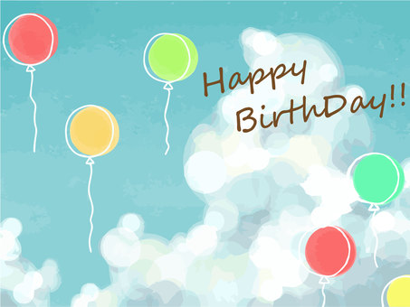 Sky and balloon background birthday card