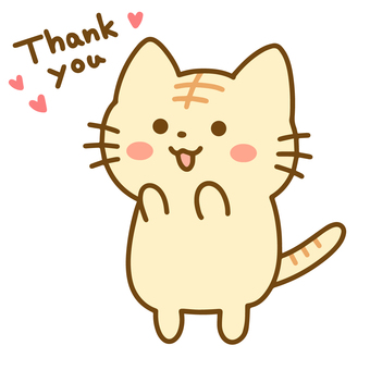 Tabby cat standing and saying thank you