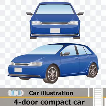 車正面と側面セット2 コンパクトセダン