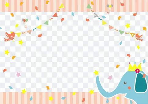 Bird and elephant celebration frame