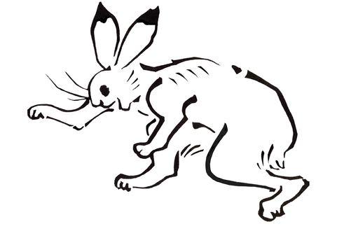 Bird and beast caricature rabbit