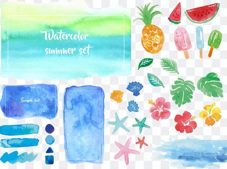 夏の水彩素材セット