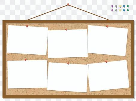 Cork board with 6 memos