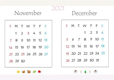 日曆 2021 年 11 月