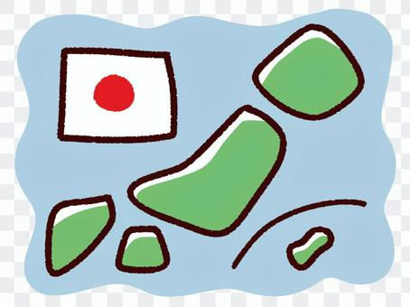 手描きのデフォルメの日本と国旗、海