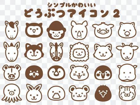 動物臉圖標2_單色