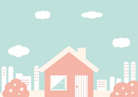 Pretty color house cityscape