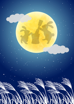 Moon-viewing background vertical of Japanese pampas grass and moon rabbit