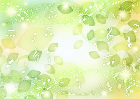 Glitter background of leaves and musical notes