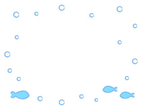 Simple white sea illustration frame