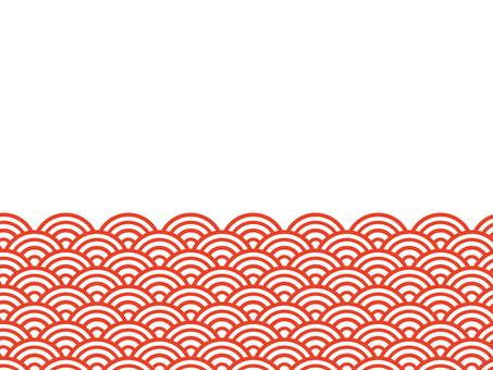 半青海波浪底色:紅色